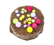 Round chocolate birthday cake Stock Photo