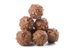 Round chocolate candies isolated Stock Photography