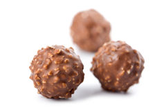 Round chocolate candies isolated Stock Image