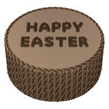Round chocolate cream with words happy easter Royalty Free Stock Photography