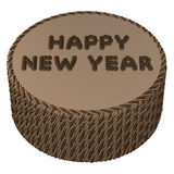 Round chocolate cream with words happy new year. 3D rendering. royalty free illustration