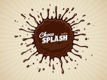 Round chocolate splash with drops Royalty Free Stock Photo