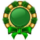 Round chrismas frame with bow Royalty Free Stock Photography