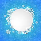 Round Christmas banner with snowflakes Royalty Free Stock Photography