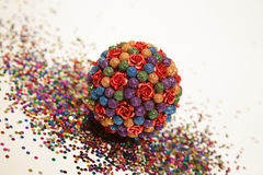 Round Christmas decoration. Round colorful Christmas glitter ball Royalty Free Stock Photography