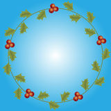 Round Christmas floral frame on a blue gradient background. Stock Photography