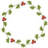 Round Christmas floral frame on a white background. Royalty Free Stock Photography