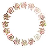 Round Christmas frame with holly berries silhouettes. Stock Images