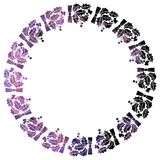 Round Christmas frame with holly berries silhouettes. Royalty Free Stock Photo