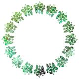 Round Christmas frame with holly berries silhouettes. Royalty Free Stock Image
