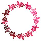 Round Christmas frame with holly berries silhouettes. Stock Image