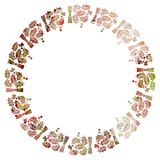 Round Christmas frame with holly berries silhouettes. Royalty Free Stock Photography