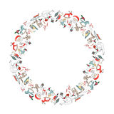 Round Christmas garland with decoration isolated on white. Stock Photos