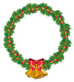 Round christmas garland. With golden bells Royalty Free Stock Photography