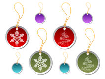 Round Christmas gift tags. Round red and green Christmas gift tags Stock Images