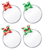 Round Christmas Gift Tags. Variations of a round Christmas gift tag Royalty Free Stock Photos