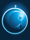 Round Christmas icon of Mary and baby Jesus. Round Christmas icon in the form of a glowing Xmas bauble decoration topped with a cross enclosing a stylized Royalty Free Stock Photo