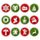 Round Christmas icons set Stock Photo