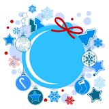 Round Christmas label  Royalty Free Stock Photography