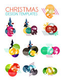 Round Christmas sale stickers with winter holiday elements Stock Image