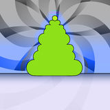 Round christmas tree on blue floral background Royalty Free Stock Photo