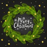 Round Christmas tree frame. On dark background Royalty Free Stock Photos