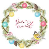 Frame with a bird, balls and firs, pastel painting. Round christmas wreath with a bird, balls, cones and firs. Pastel hand drawn illustration Stock Photography