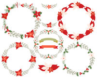 Round Christmas wreath border set Stock Image