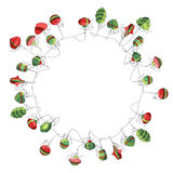 Round Christmas wreath with decoration isolated on. White. Simple colors. For Christmas design, announcements, postcards, posters Stock Photo