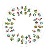 Round Christmas wreath with decoration isolated on white. Simple colors. Royalty Free Stock Photo