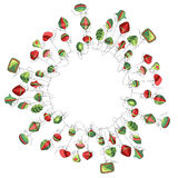 Round Christmas wreath with decoration isolated on white. Simple colors. For Christmas design, announcements, postcards, posters Royalty Free Stock Photos