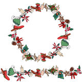 Round Christmas wreath with decoration. Traditional elements. For Christmas design, announcements, postcards, posters. Seamless pattern brush, endless texture Stock Photography