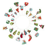 Round Christmas wreath with decoration  on white. Royalty Free Stock Photography