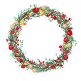 Round Christmas wreath with fir branches Royalty Free Stock Image