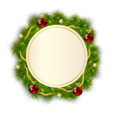 Round Christmas wreath of fir branches Stock Photo