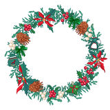 Round Christmas wreath with fir cones and gift boxes  on white. For festive design, announcements, postcards, posters Stock Image