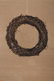 Round Christmas Wreath Natural Twigs on Old Cardboard Background Stock Image