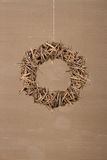 Round Christmas Wreath Natural Twigs on Old Cardboard Background Stock Photo