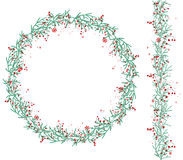 Round Christmas wreath with snow and fir branches  on white. Endless vertical pattern brush. For festive design, announcements, postcards, posters Stock Image