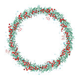 Round Christmas wreath with spruce branches and snowflakes  on white Royalty Free Stock Photography