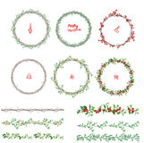 Round Christmas wreathes. Endless pattern brushes. Stock Images