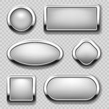Round chrome button collection on transparent background. Vector metal buttons Royalty Free Stock Photos