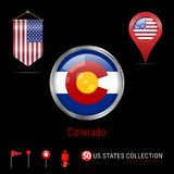 Round Chrome Vector Badge with Colorado US State Flag. Pennant Flag of USA. Map Pointer - USA. Map Navigation Icons royalty free illustration