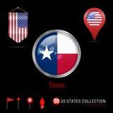 Round chromu Wektorowa odznaka z Teksas stanu usa flaga Banderki flaga usa Mapa pointer - usa Mapy nawigaci ikony ilustracja wektor