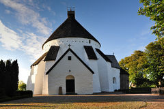 Round church on Bornholm. Round white church on Bornholm, Denmark, Europe royalty free stock image