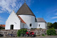 Round church on Bornholm island. Denmark, Europe royalty free stock photo