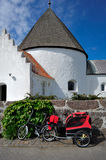 Round church on Bornholm island. Denmark, Europe royalty free stock photography