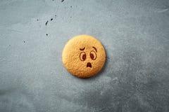 Round ciastko z emocją, twarz z emocją Fotografia Royalty Free