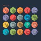 Round Cienka ikona z cieniem Ustawia 12 ilustracja wektor