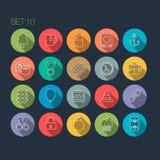 Round Cienka ikona z cieniem Ustawia 10 Obrazy Royalty Free